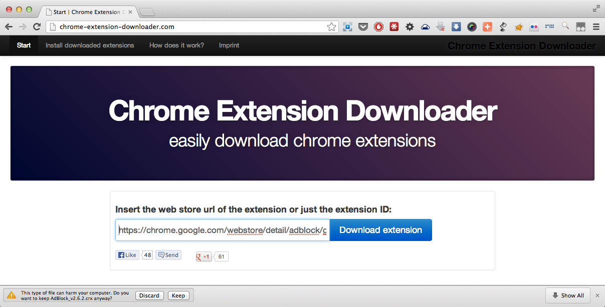 download manual site wants to add chrome extension