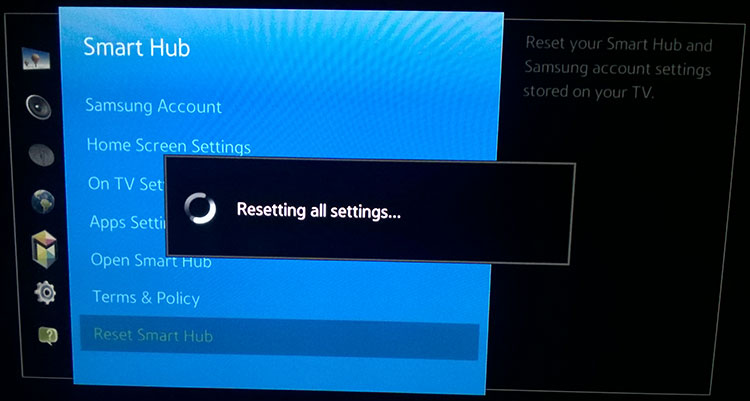 reset network connection on samsung tv manually