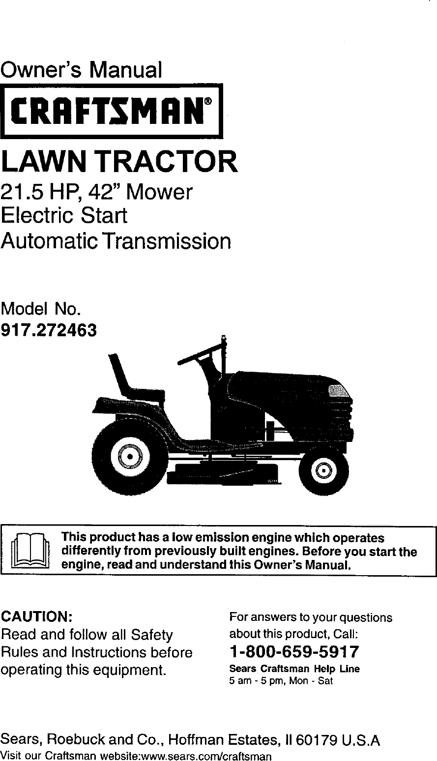 manual for craftsman lawn tractor model 917.272463