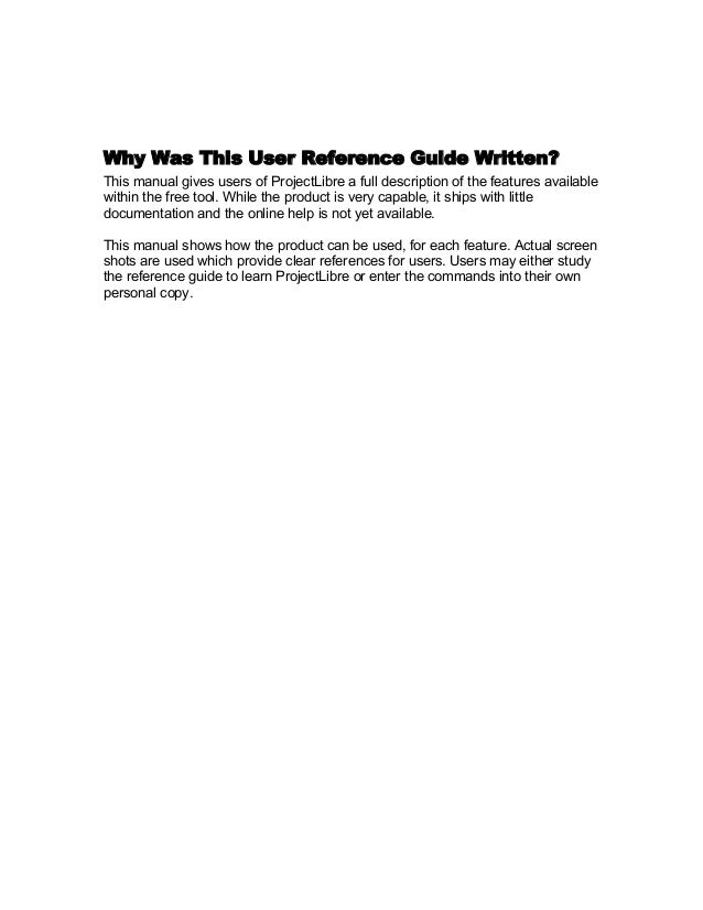 projectlibre user guide reference manual download